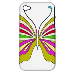Color Butterfly  Apple Iphone 4/4s Hardshell Case (pc+silicone)