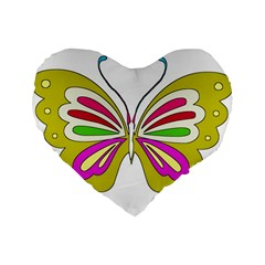 Color Butterfly  16  Premium Heart Shape Cushion