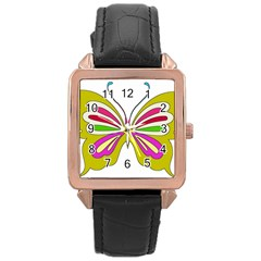 Color Butterfly  Rose Gold Leather Watch