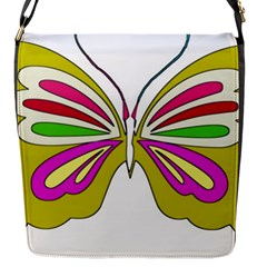 Color Butterfly  Flap Closure Messenger Bag (small)
