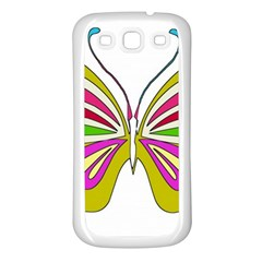 Color Butterfly  Samsung Galaxy S3 Back Case (white)
