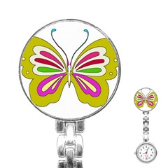 Color Butterfly  Stainless Steel Nurses Watch