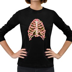 Blossoms Ribs Women s Long Sleeve T-shirt (Dark Colored)