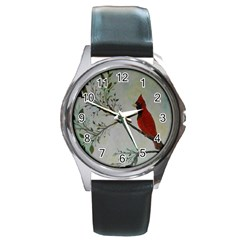 Sweet Red Cardinal Round Leather Watch (Silver Rim)