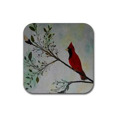 Sweet Red Cardinal Drink Coasters 4 Pack (Square)