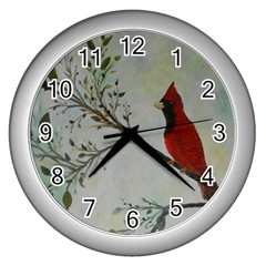 Sweet Red Cardinal Wall Clock (Silver)