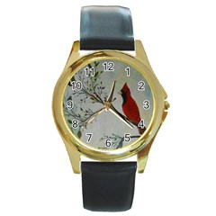 Sweet Red Cardinal Round Leather Watch (Gold Rim)