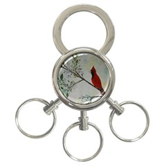 Sweet Red Cardinal 3-Ring Key Chain