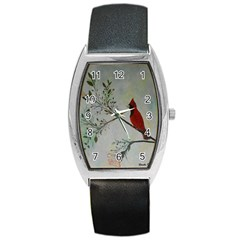 Sweet Red Cardinal Tonneau Leather Watch