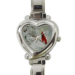 Sweet Red Cardinal Heart Italian Charm Watch