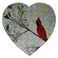 Sweet Red Cardinal Jigsaw Puzzle (Heart)