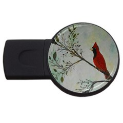 Sweet Red Cardinal 4GB USB Flash Drive (Round)