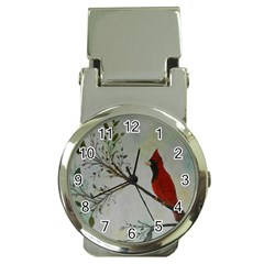 Sweet Red Cardinal Money Clip with Watch