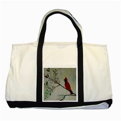 Sweet Red Cardinal Two Toned Tote Bag