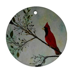 Sweet Red Cardinal Round Ornament (Two Sides)