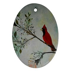 Sweet Red Cardinal Oval Ornament (two Sides)