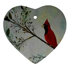 Sweet Red Cardinal Heart Ornament (Two Sides)