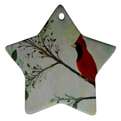 Sweet Red Cardinal Star Ornament (Two Sides)