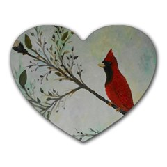 Sweet Red Cardinal Mouse Pad (Heart)