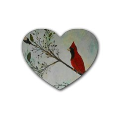 Sweet Red Cardinal Drink Coasters 4 Pack (Heart)