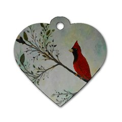 Sweet Red Cardinal Dog Tag Heart (One Sided)