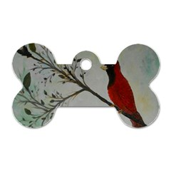 Sweet Red Cardinal Dog Tag Bone (Two Sided)
