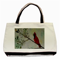 Sweet Red Cardinal Twin-sided Black Tote Bag