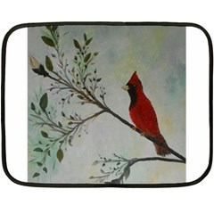 Sweet Red Cardinal Mini Fleece Blanket (Two Sided)