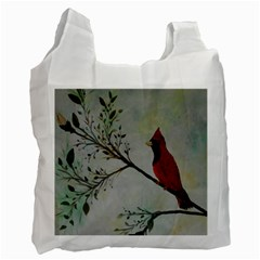 Sweet Red Cardinal White Reusable Bag (two Sides)