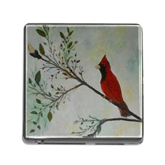 Sweet Red Cardinal Memory Card Reader With Storage (square)