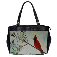 Sweet Red Cardinal Oversize Office Handbag (Two Sides)