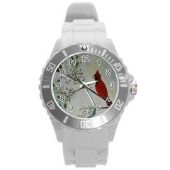 Sweet Red Cardinal Plastic Sport Watch (Large)