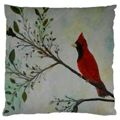 Sweet Red Cardinal Large Cushion Case (two Sided)
