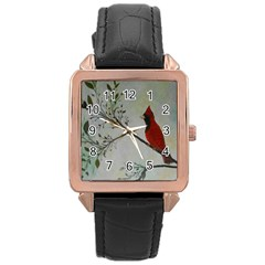 Sweet Red Cardinal Rose Gold Leather Watch