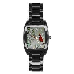 Sweet Red Cardinal Stainless Steel Barrel Watch