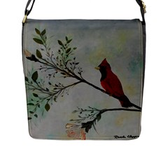 Sweet Red Cardinal Flap Closure Messenger Bag (Large)