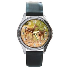 Deer in Nature Round Leather Watch (Silver Rim)