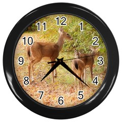 Deer in Nature Wall Clock (Black)