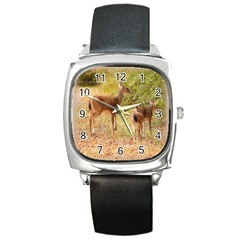 Deer in Nature Square Leather Watch
