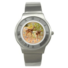 Deer in Nature Stainless Steel Watch (Slim)