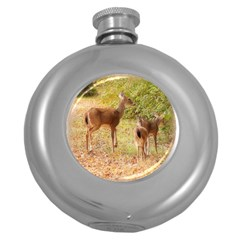 Deer in Nature Hip Flask (Round)