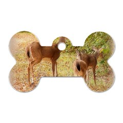 Deer in Nature Dog Tag Bone (Two Sided)