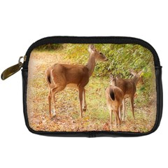 Deer In Nature Digital Camera Leather Case