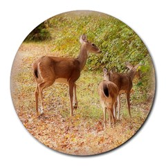 Deer in Nature 8  Mouse Pad (Round)