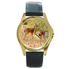 Deer in Nature Round Leather Watch (Gold Rim)