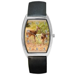 Deer in Nature Tonneau Leather Watch