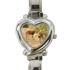 Deer in Nature Heart Italian Charm Watch