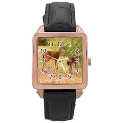 Deer in Nature Rose Gold Leather Watch