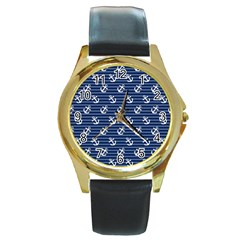 Boat Anchors Round Leather Watch (Gold Rim)