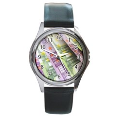 Just Gimme Money Round Leather Watch (silver Rim)